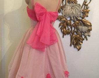 Fall sale 1950s dress party dress chiffon dress size small pink dress vintage dress full skirt dress 50s prom dress