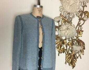 Vintage jacket boucle jacket baby blue blazer wool jacket size medium classic blazer channel style