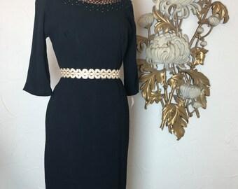 Fall sale 1950s dress wiggle dress 50s dress cocktail dress size medium Vintage dress rockabilly dress hourglass dress