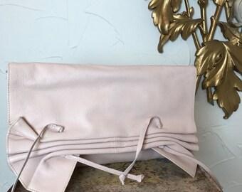 Fall sale 1980s purse pink purse leather clutch 1980s clutch ruched purse vintage purse pink clutch vintage clutch