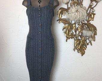 Fall sale 1990s dress sweater dress sleeveless dress size medium vintage dress grey dress knit dress