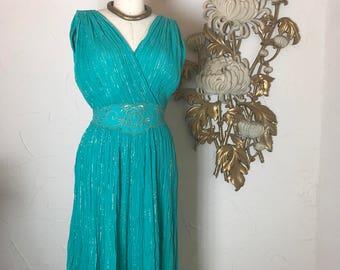 1970s dress grecian dress aqua dress lurex dress size medium vintage dress island dress 36 bust