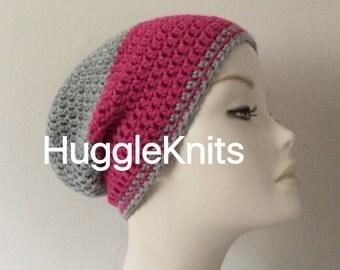 Crochet Grey/Pink coloured Slouchie/Beanie wool hat