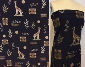 Safari rayon fabric giraffe fabric African fabric screen print rayon