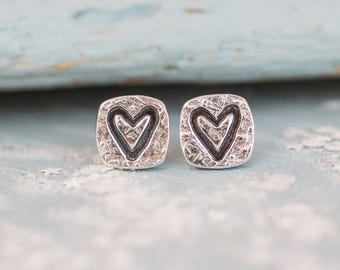 Square Love Heart Earrings, Silver heart earrings, Heart earrings, Bridal jewellery, Wedding earrings, gift for her, gift for bridesmaid