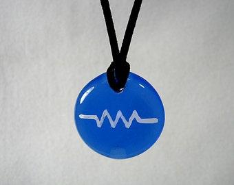 Blue Glass Resistance Pendant,Resistor Pendant, Blue Pendant,Blue Necklace,Resist Symbol