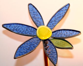 Yellow and Blue 3-D small stained glass garden flower - Gift, Handmade, Garden, Garden Art, Women, Man, Diane Michele Volrath LLC