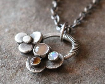 35% OFF - Rainbow Moonstone Opal Citrine Sterling Silver Flower Necklace