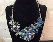 Vintage Blue Brooch Statement Necklace-  Bib Jewelry- Rhinestone  Accessories- Statement  wedding Jewelry
