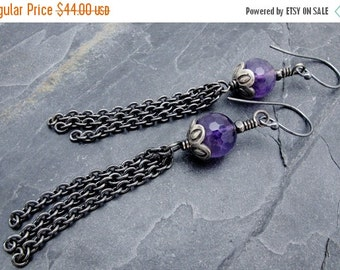 amethyst earrings, tassel earrings, purple gemstone earrings, amethyst gift, February birthstone, February birthstone earrings, Hill Tribe