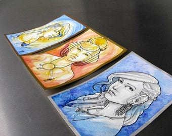 Original Artwork Sun Moon & Stars Watercolor Postcard Set - OOAK Fantasy Paintings Signed by Artist