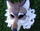 RESERVED for Chelsea  .... custom Gray and White Dire Wolf leather mask