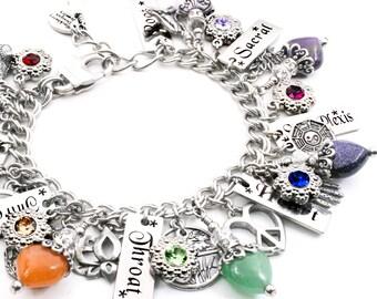 Yoga Bracelet, Chakra Bracelet, Gemstone Charm Bracelet, Yoga Jewelry, Gemstone Jewelry, Om, Buddha, Lotus