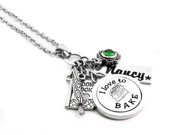 Baking Necklace, Personalized Baker Necklace, Cooks Necklace, engraved name charm,choice of crystal, cook book, birthstone, stainless steel