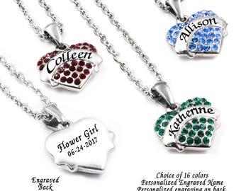 Personalized Flower Girl Necklace with Flower Girl Name, Birthstone, Dainty Wedding Necklace, 16 crystal color choices in stainless steel