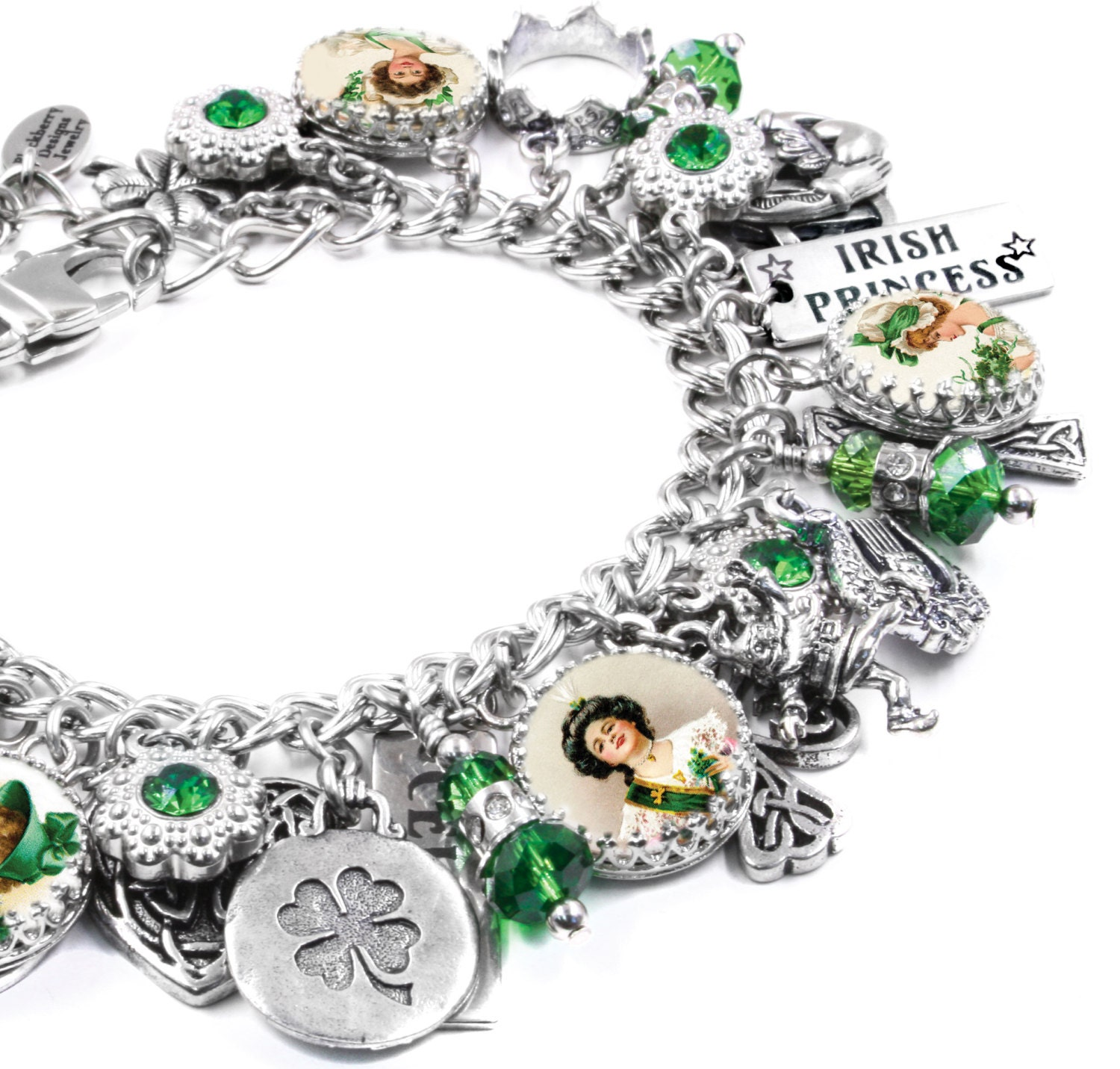 Silver Bracelets With Charms: Celtic Jewelry Silver Charm Bracelet Irish Jewelry Irish
