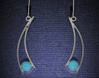 GemDrops Turquoise Earrings, Sterling silver dangles