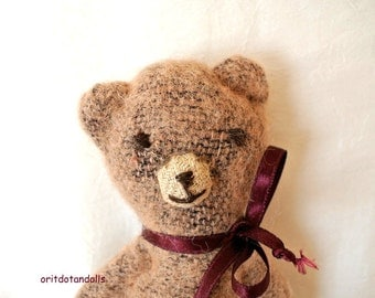 Toy bear, small primitive bear   7inch / 18cm tall antique look made of wool camel fabric