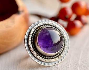 Sterling Silver Ring, Chunky Amethyst Ring, Recycled Silver Ring, Purple Stone Handmade Silver Ring, Hand Forged Silver, Boho Style