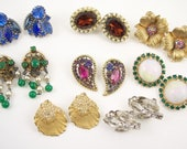 Vintage lot of signed rhinestone earrings