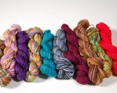 Mini Skein set 12- 10 skeins approx 20 yards each -sock and fingering weight yarn