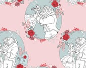 NEW Disney Fabric- Beauty and the Beast Fabric- Love in  Light Pink From Camelot, yard