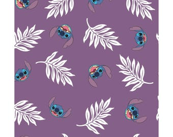 NEW Disney Fabric- Lilo and Stitch collection- Palm Leaves in Wildberry, Camelot, yard