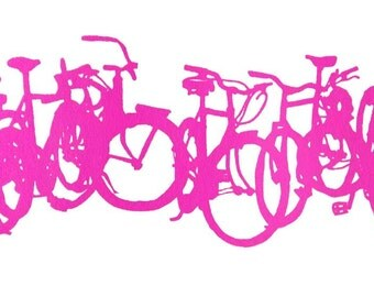 Bicycle Art Print - Bike Wall Art - Bike Stack Mini Cascade Fushcia -  Bike art print -  Wall Decor -  Cycling Print Art Bicycle Bike Art