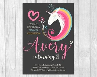 Unicorn Birthday Invitation 5x7 Printable Unicorn Party Invite - Hearts & Rainbow Magical Celebration - Personalized Printable Digital File
