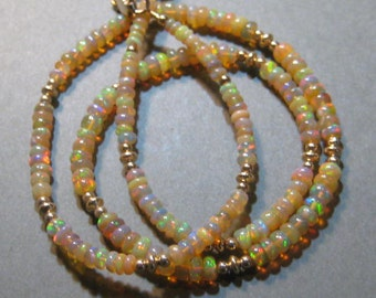 Ethiopian Opal HONEY Bead  necklace.................    approx 18  inch .........      e903