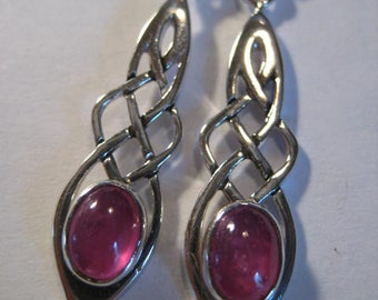 Beautiful Natural Pink Sapphire Celtic Earrings .  Sterling Silver.                               e976