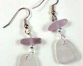 Sea Glass Jewelry Sea Glass Earrings Lavender Purple Sea Glass Earrings  E-197