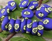 Set of Handmade Polymer Clay Beads in Dark Purple With Yellow Flowers