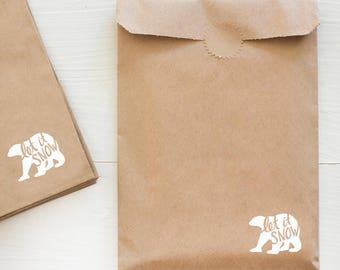 kraft paper gift bag - polar bear