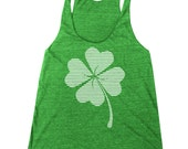 Women's St. Patrick's Day Lucky Four Leaf Clover Racerback Tank Top