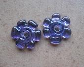 Lampwork Beads - SueBeads - Disc Beads - Disc Flowers - Purple Cut Disc Flower Bead Pair - Handmade Lampwork Beads - SRA M67