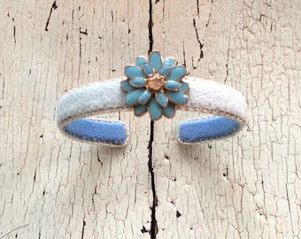 Enamel and Rhinestone Daisy Adjustable Cuff