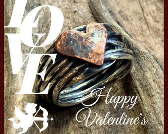 Valentines heart Ring, Silver Ring, Two tones Ring, copper heart Ring, wire wrap Ring, Statement Ring, boho ring - I Found A Boy R2317