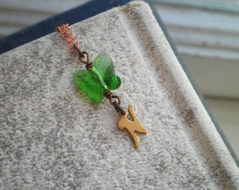 Copper Letter N Green Crystal Butterfly Charm Necklace - Vintage Initial Tiny Letter N Pendant - Personalized Letter N Initial Jewelry Gift