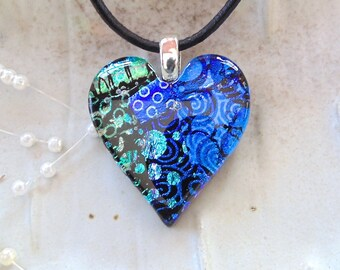Heart Pendant, Dichroic Jewelry, Necklace, Blue, Green, Necklace Included, One of a Kind, A8