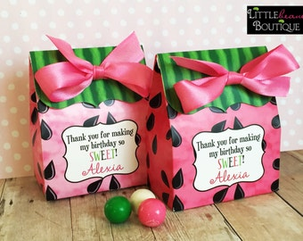 Watermelon Birthday Party, Personalized favor Box,watermelon Favor boxes,watermelon party favors, Candy Buffet box,Birthday party, Treat box