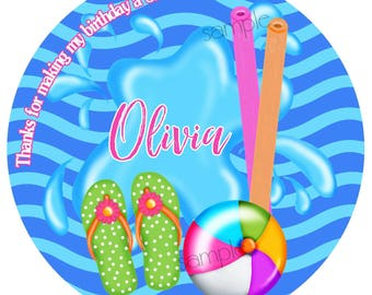 Pool party stickers, personalized, flip flops,  beach ball, pool noodles, girl,Summer,Beach stickers,Tropical,Birthday,Favor, Custom labels