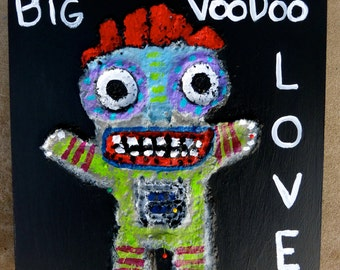 BIG Voodoo Love Doll Paper Mache Painting On Cradled Birch Wood 8x8 Tracey Ann Finley Raw Brut Outsider Art