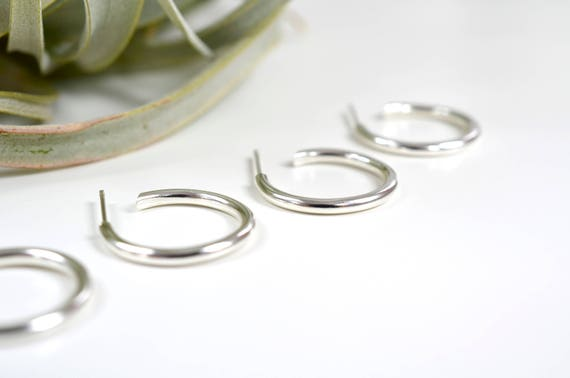 Silver hoop earrings with nickel free posts - silver hoops - nickel free - gift for her - gift for girlfriend - handmade nickel free silver