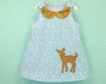 Handmade toddler dress in size 3 years, made from vintage reclaimed materials, vintage floral with peter pan collar and deer applique dress