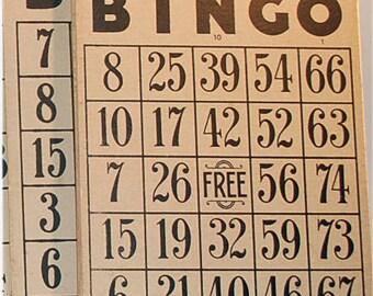 6 vintage paper bingo cards cardboard Classic colors - black and tan