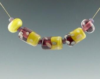 Handmade Lampwork Glass Beads, Lampwork Bead, Glass beads, Lampwork Spacer Beads, Three Sisters