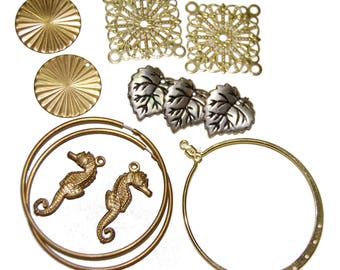 12 Piece Metal Jewelry Component Lot