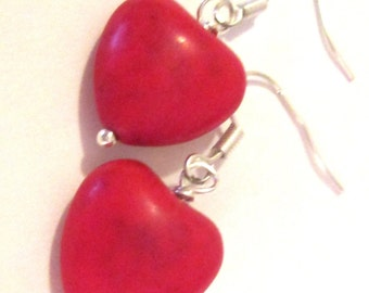 small red heart shaped stone pierced dangle hand made wire wrapped earrings