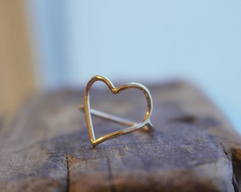 Gold Heart Ring - Goldfilled Ring - Heart Ring Band - Midi Ring